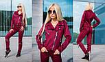 Женский красивый замшевый костюм: куртка-косуха и брюки с молниями (6 цветов), фото 9