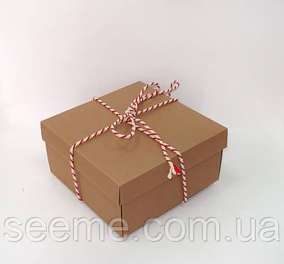 Коробка подарункова 140х140х70 мм, колір крафт