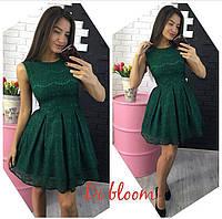 Зеленое платье из гипюра с подъюбником