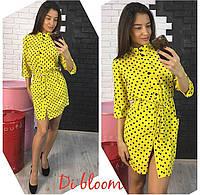 Шелковое платье-рубашка в мелкий горошек