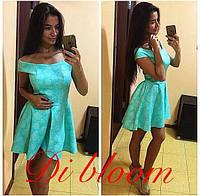 Короткое голубое платье из неопрена