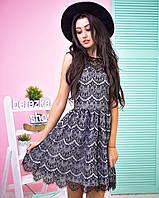 Стильное молодежное кружевное платье