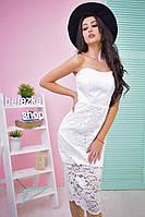 """Модное женское платье """"Гипюр"""" в белом цвете"""