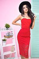 """Стильное женское платье """"Гипюр"""" в красном цвете"""