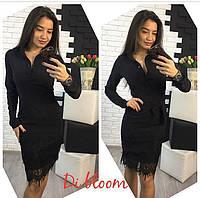 Деловое платье на пуговицах черного цвета