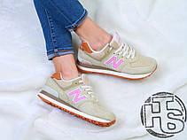 Женские кроссовки реплика New Balance 574 Beige/Pink WL574BCA, фото 3
