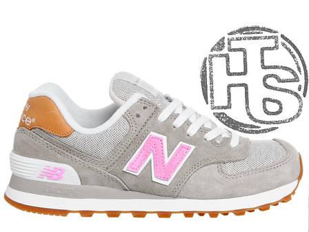 Женские кроссовки реплика New Balance 574 Beige/Pink WL574BCA, фото 2