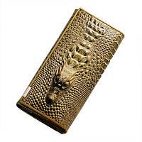 Женский кошелек с 3D Крокодилом (Золото) Бронза