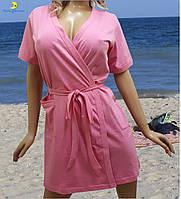 Купить халат женский хлопковый, размер от 44 до 54, Украина Розовый