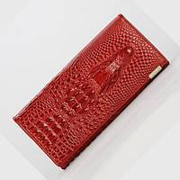 Женский кошелек с 3D Крокодилом (Красный с черным) Красный