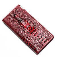 Женский кошелек с 3D Крокодилом (Красный с черным) Красный с черным