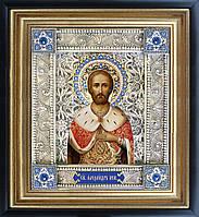 Александр Невский именная икона скань