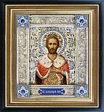 Святой Александр Невский именная икона скань