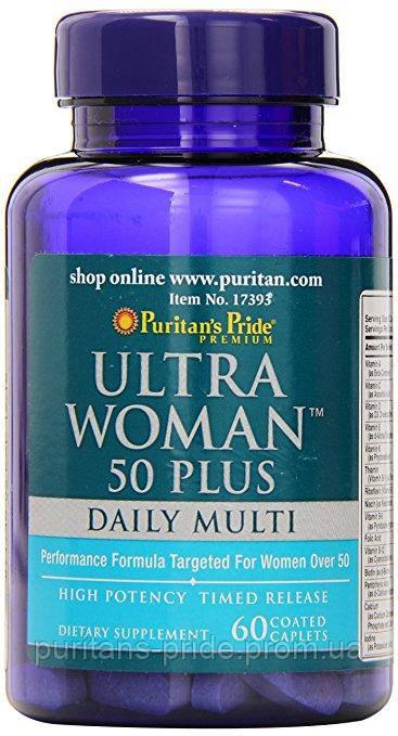 Витамины для женщин 50+  Puritan's Pride Ultra Woman™ 50 Plus Multi-Vitamin 60 Coated Caplets