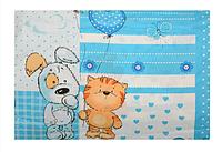 Постельное белье  5 предметов  подушка  одеяло  наволочка  пододеяльник  простынь голубой кот и собака