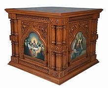 Облачение на престол с 12 колонами из резного дуба 125 на 125см