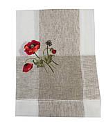 Льняная скатерть с вышитыми Маками 150-220 см
