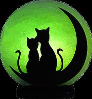 """Солевая, соленая лампа светильник """"коты на луне"""""""