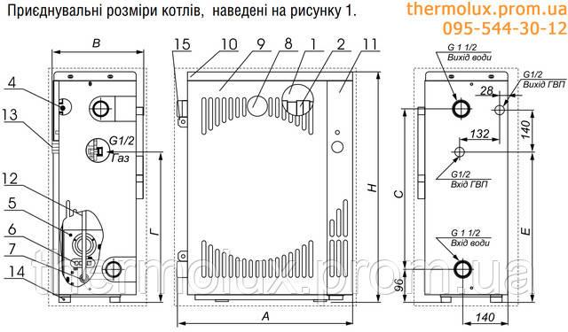 Размеры подсоединений подключений парапетного котла Маяк
