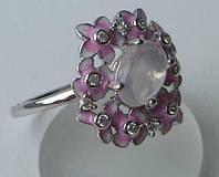 Кольцо с розовым кварцем и эмалью.  Размер 16.5
