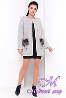 Женское пальто с мехом на карманах (р. S, M, L) арт. Ажен шерсть №9 - 9483