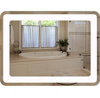 Влагостойкое зеркало для ванной (LED + сенсор + размер 80х60)