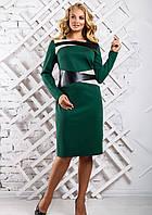 Женское cтильное платье со вставками из эко-кожи 2334 цвет темно зеленый размер 50-56 / большие размеры