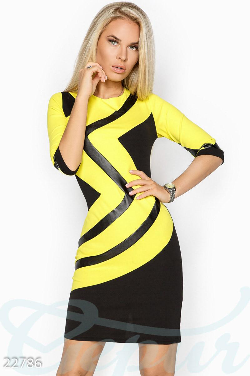 Деловое платье с кожаными вставками 42,44,46 48,50,52,54,56
