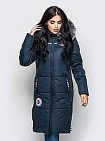 Длинная зимняя женская куртка с мехом на силиконе 90245