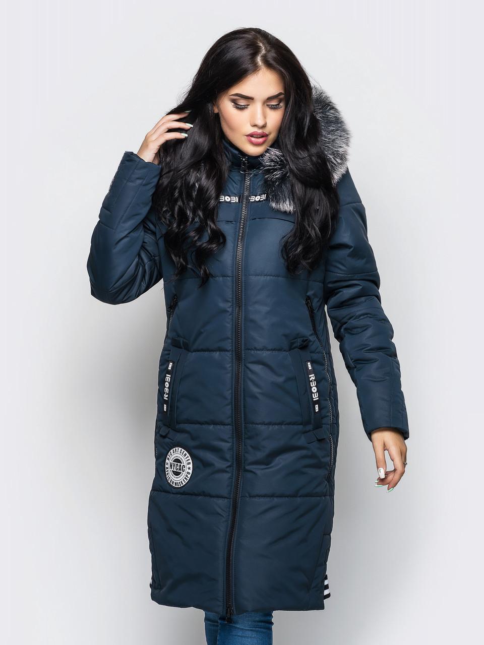 Длинная зимняя женская куртка с мехом на силиконе 90245 - Модный Оазис в  Харькове 2fbf49c9628
