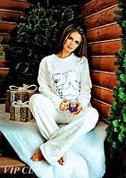 Белая теплая пижама женская