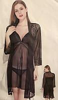 Комплект кружевной халат и ночная рубашечка со стрингами