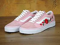 """Кеды женские Vans Old Skool Pink Roses """"Розовые с красными розами"""" р. 4.5-7.5 (36-41), фото 1"""