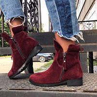 Ботинки женские AVK на низком каблуке из кожи/замши осень/зима разные цвета AV0030