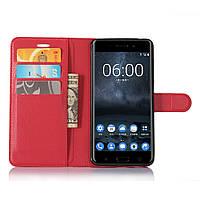 Чехол Nokia 6 книжка PU-Кожа красный, фото 1