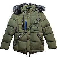 Куртка подростковая для мальчиков 10-16 лет олива Китай Оптом KS1 1740
