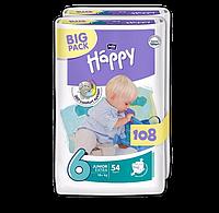 Подгузники Bella Happy 6 Big Pack Junior Extra (16+ кг) 108шт.
