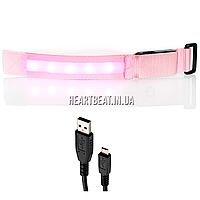 Светящийся браслет для бега UCiT LED Sports Armband (розовый) L (объем руки от 32 до 41 см)