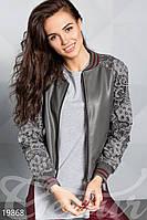 Кожаная куртка с гипюром S M L