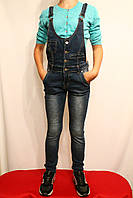 Джинсы-комбезы детские современные, стильные, осенние для девочек от 4 до 12 лет. Фирма- Польша.