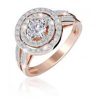 """Серебряное кольцо с фианитами с позолотой """"033"""""""