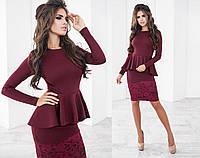 Красивое женское платье бордовое с баской и гипюром (3 цвета) ТК/-03015