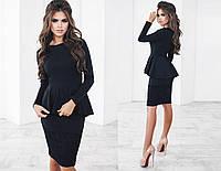 Красивое женское платье чёрное с баской и гипюром (3 цвета) ТК/-03015