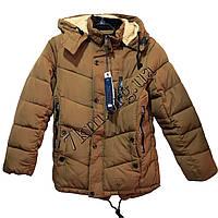 Куртка подростковая для мальчиков 10-16 лет светло-коричневая Китай Оптом KS1 1753