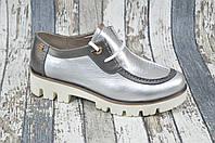 Кожаные женские туфли на шнурках на высокой подошве