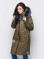 Длинная зимняя женская куртка с мехом на силиконе 90245/2