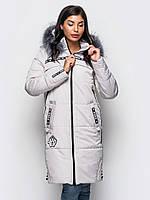 Длинная зимняя женская куртка с мехом на силиконе 90245/3