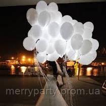 """12""""(30 см) Светящийся гелиевый шар с немигающим светодиодом гелевый 1 шт."""