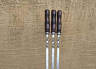 """Шампур плоский с деревянной ручкой """"Бочонок, бордо"""" (3мм, 55см, 1шт)"""