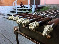Набор шампуров с деревянной ручкой и бронзовыми навершиями 6шт. в чехле кожзам(3мм, 70см)
